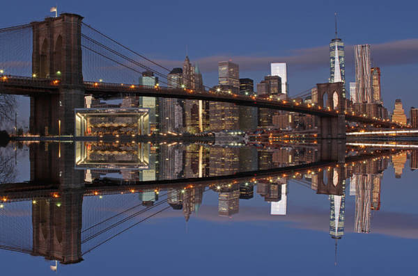 Photograph - Freedom Tower And Brooklyn Bridge by Juergen Roth