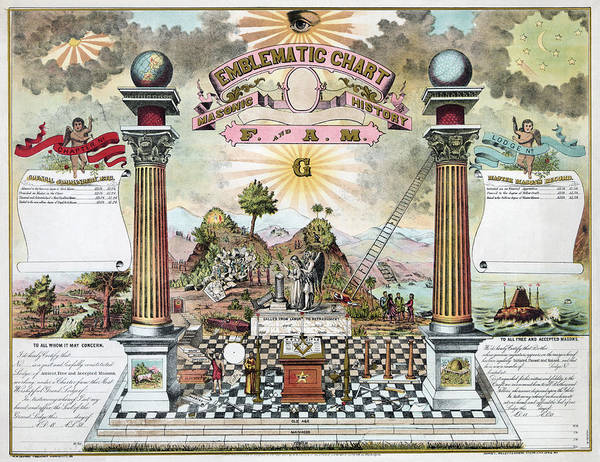 Photograph - Freemason Emblematic Chart by Granger