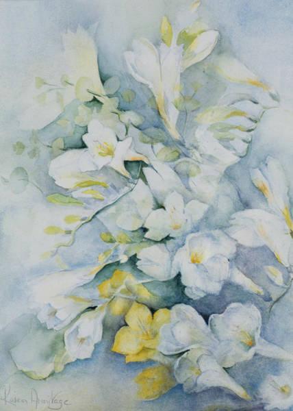 Decorative Drawing - Freesia Eldus, Giant White by Karen Armitage