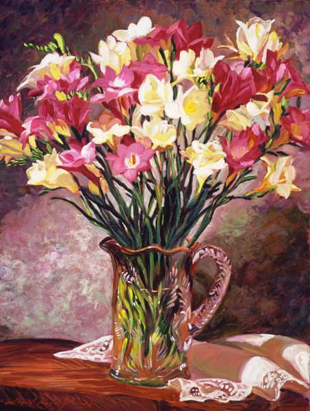 Tablecloth Painting - Freesias In Crystal Pitcher by David Lloyd Glover