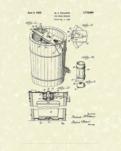Drawing - Freezer 1929 Patent Art by Prior Art Design