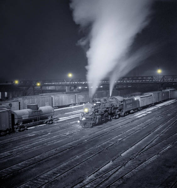Freight Wall Art - Photograph - Freight Train About To Leave The Atchison Circa 1943 by Aged Pixel