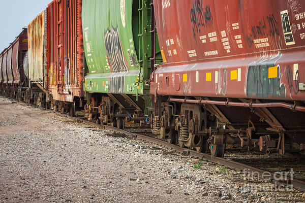 Photograph - Freight Train Cars On Tracks by Bryan Mullennix