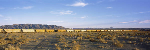 San Bernardino Photograph - Freight Train In A Desert, Trona, San by Panoramic Images