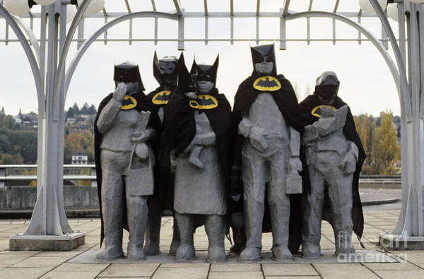 Jim Richards Photograph - Fremont Statues Dressed As Batman by Jim Corwin
