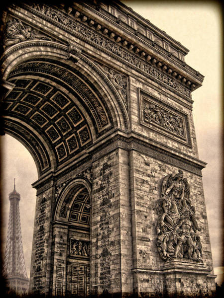 Wall Art - Photograph - French - Arc De Triomphe And Eiffel Tower IIi by Lee Dos Santos