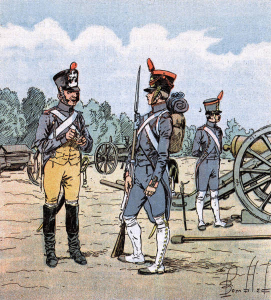 Wall Art - Drawing - French Artillery In Action by Mary Evans Picture Library