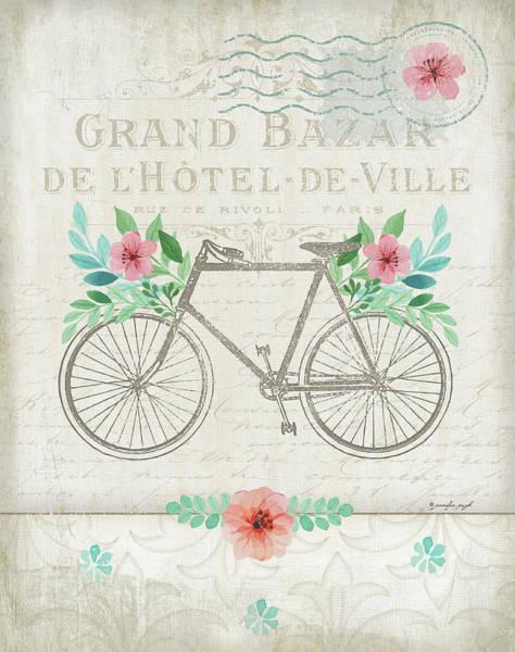 Pink Painting - French Bike by Jennifer Pugh