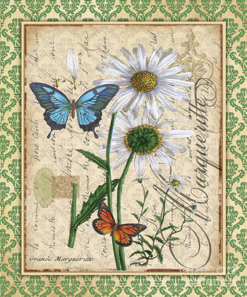 Romantic Flower Mixed Media - French Botanical Damask-d by Jean Plout