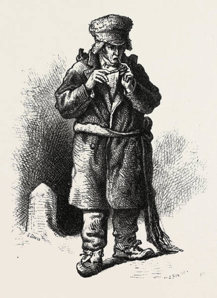 Old Style Drawing - French Canadian Life, An Old Habitant, Canada by Canadian School
