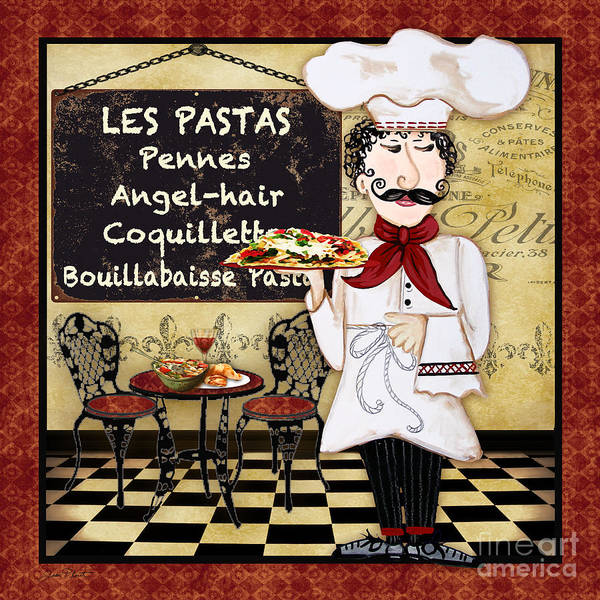 Mustache Painting - French Chef-c by Jean Plout