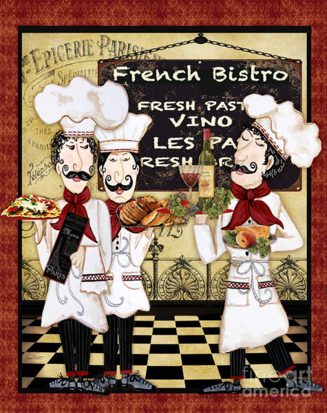 Mustache Painting - French Chefs-bistro by Jean Plout