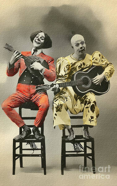Photograph - French Clown Musicians Vintage Art Reproduction Tint by Lesa Fine