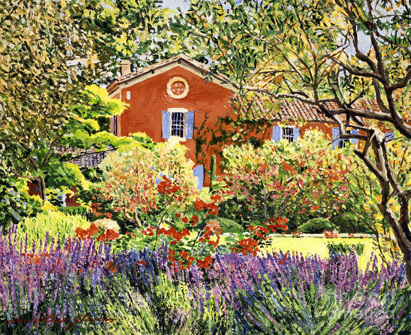 Provence Landscape Wall Art - Painting - French Countryside House by David Lloyd Glover