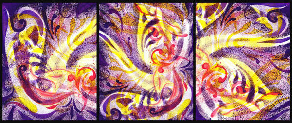 Painting - French Curve Abstract Movement Vii Happy Trio by Irina Sztukowski