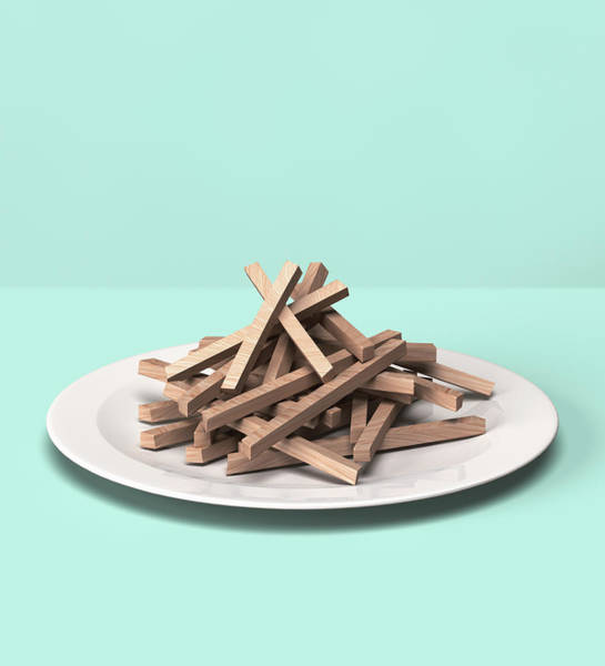 Kitsch Photograph - French Fries Made Out Of Wooden Block by Hiroshi Watanabe