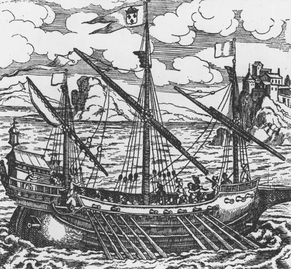 Crew Drawing - French Galley Operating In The Ports Of The Levant Since Louis Xi  by French School