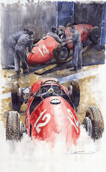 Ferrari Wall Art - Painting - French Gp 1952 Ferrari 500 F2 by Yuriy Shevchuk