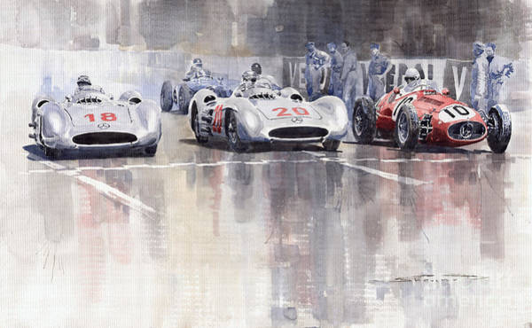 Watercolour Painting - French Gp 1954 Mb W 196 Meserati 250 F by Yuriy Shevchuk