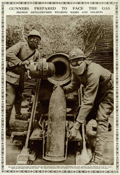 Wall Art - Photograph - French Gunners Wearing Masks by Mary Evans Picture Library