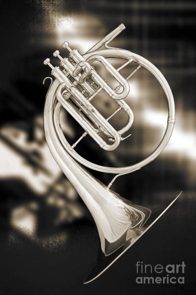 Photograph - French Horn Antique Classic Photograph In Sepia 3427.01 by M K Miller