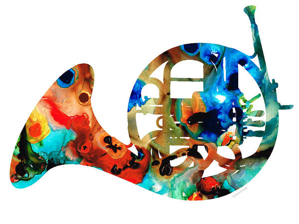 Art For Sale Online Painting - French Horn - Colorful Music By Sharon Cummings by Sharon Cummings