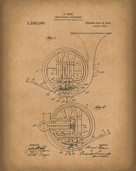 Drawing - French Horn Musical Instrument 1914 Patent Art  Brown by Prior Art Design
