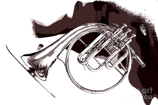 Photograph - French Horn Painting Antique Classic In Sepia 3426.01 by M K Miller