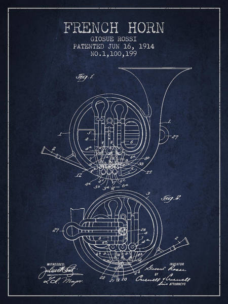 Wall Art - Digital Art - French Horn Patent From 1914 - Blue by Aged Pixel