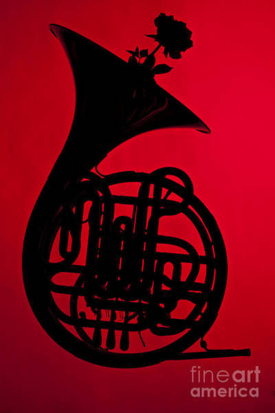 Photograph - French Horn Silhouette Photograph In Color Red 3432.02 by M K Miller