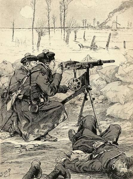 1915 Photograph - French Machine Gun Team At The Battle Of The Yser, Belgium, 1915 During World War One. From Agenda by Bridgeman Images