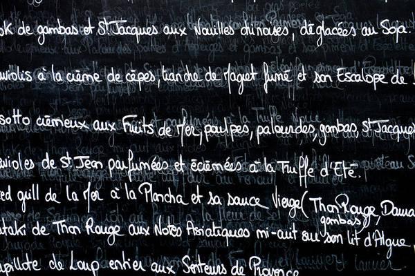 Written Language Photograph - French Menu On A Chalk Board by Brandon Bourdages