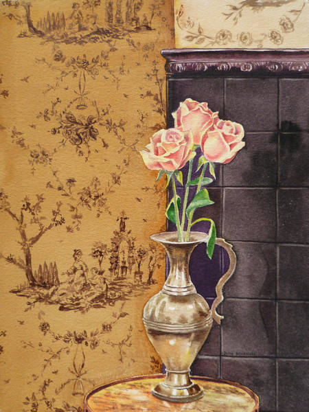 Wall Paper Painting - French Roses by Irina Sztukowski