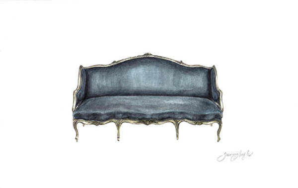 Living Space Wall Art - Painting - French Settee  by Jazmin Angeles
