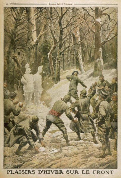 Amuse Drawing - French Soldiers Amuse  Themselves by Mary Evans Picture Library
