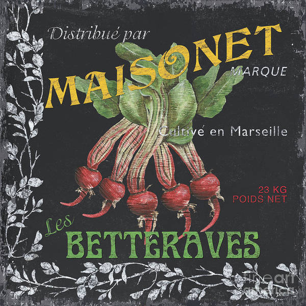 Beet Wall Art - Painting - French Veggie Labels 2 by Debbie DeWitt