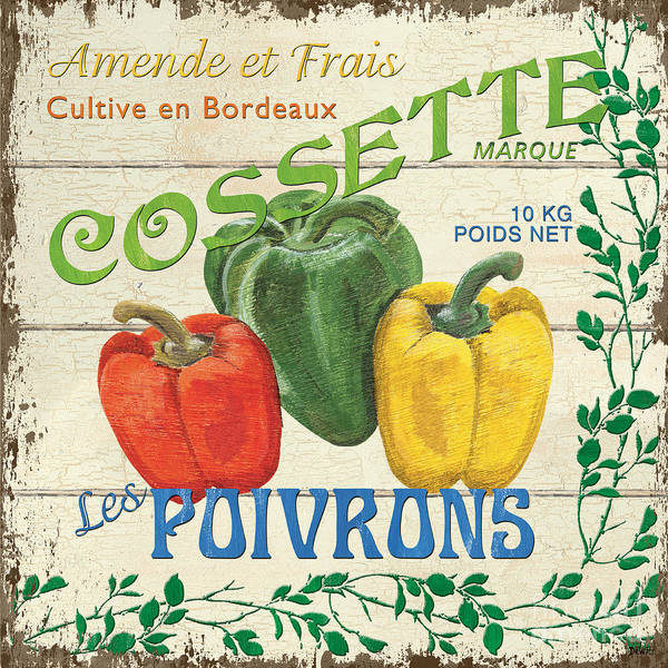 Vines Wall Art - Painting - French Veggie Sign 4 by Debbie DeWitt