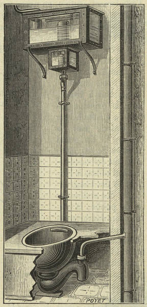 Wall Art - Drawing - French Water Closet With  Siphon by Mary Evans Picture Library
