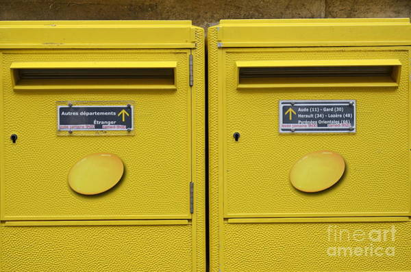 Wall Art - Photograph - French Yellow Mailboxes by Sami Sarkis