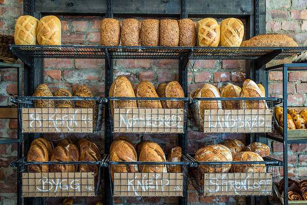 Bakeries Photograph - Fresh Baked Bread At Small Town Bakery  by Aldona Pivoriene