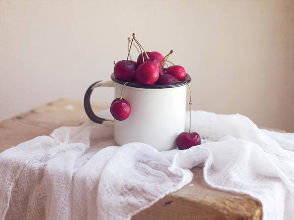 Enamel Wall Art - Photograph - Fresh Cherries In Enamel Cup by Copyright Anna Nemoy(xaomena)