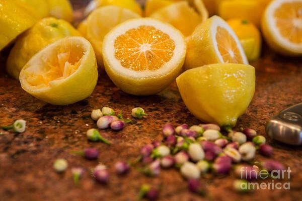 Wall Art - Photograph - Fresh Cut Lemons With Blossoms by Iris Richardson