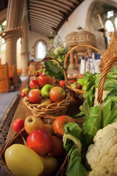 Church Of Scotland Wall Art - Photograph - Fresh Food On Display On A Table by John Short