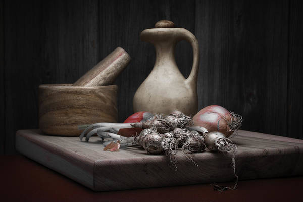 Wall Art - Photograph - Fresh Onions With Pitcher by Tom Mc Nemar