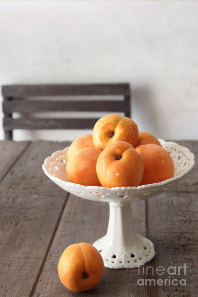 Photograph - Fresh Peaches On Old Brown Table by Sandra Cunningham