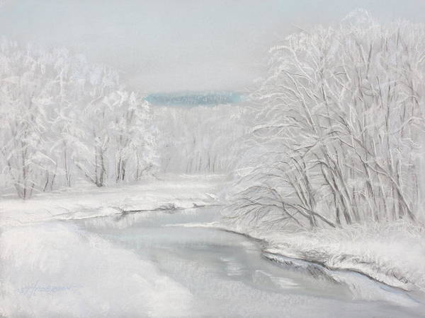 Pastel - Fresh Snow At Catfish Corner by Sherri Anderson