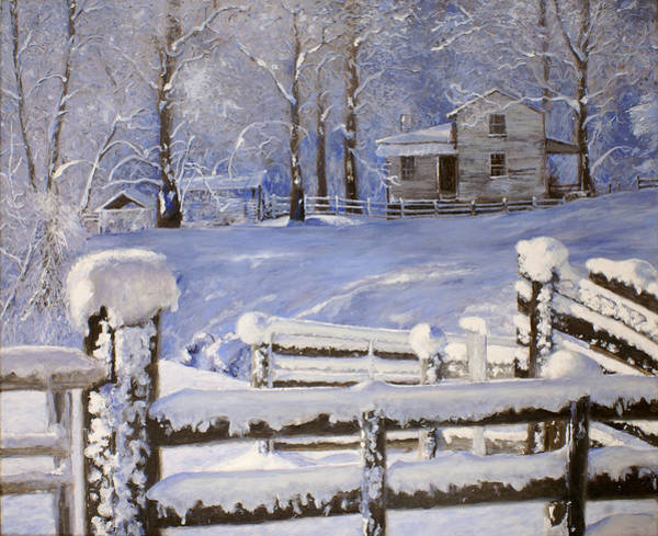 Monticello Painting - Fresh Snow by J Luis Lozano