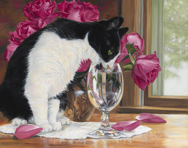 Domestic Cat Wall Art - Painting - Fresh Water by Lucie Bilodeau