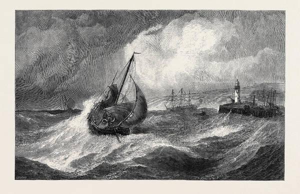 Stormy Drawing - Freshening Gale Scarborough Fishing Boats Returning by Hayes, Edwin, Rha, Ri, Roi (1819-1904), British
