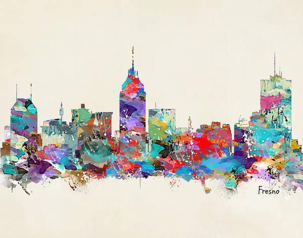 Fresco Wall Art - Painting - Fresno California Skyline by Bri Buckley